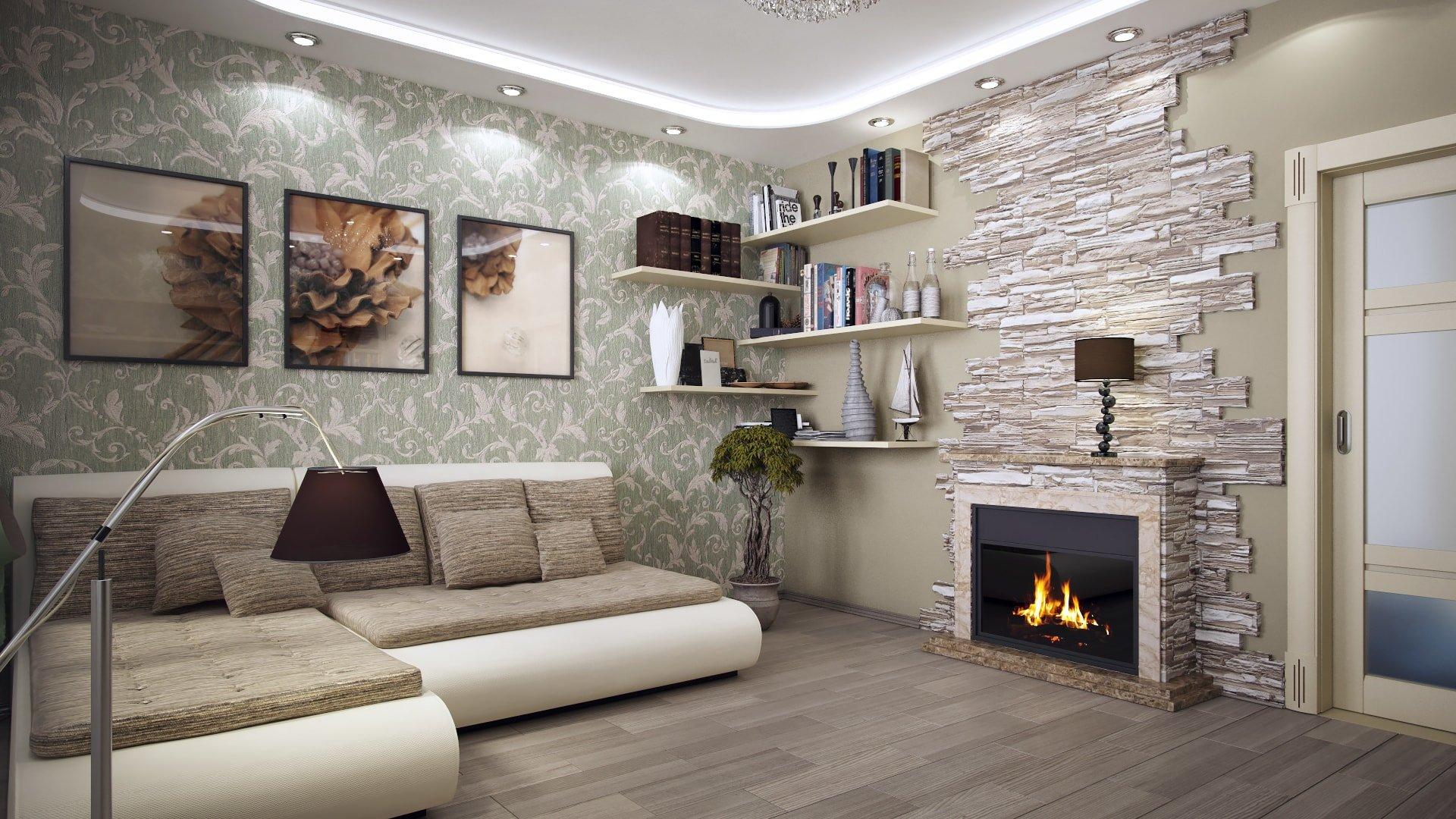 Фото дизайна интерьеров зала с обоями. | 1080x1920